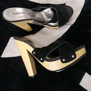 Nwt Bebe mules black velvet no box 5in heel